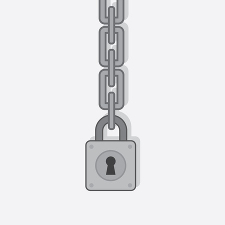 Lock pad on large metal chain  Vector