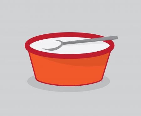 Bol de lait pour les céréales avec une cuillère Banque d'images - 21479511