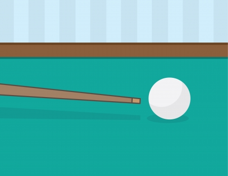 Billiards pool stick about to hit ball