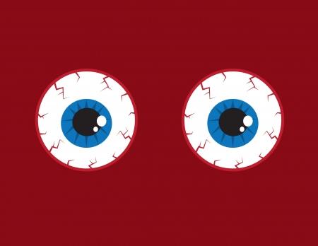 bloodshot: Two round red bloodshot eyeballs
