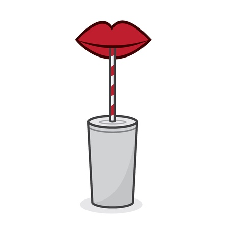 Red lips drinking from straw  Illustration