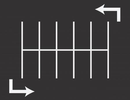 矢印の付いた駐車場平面図  イラスト・ベクター素材