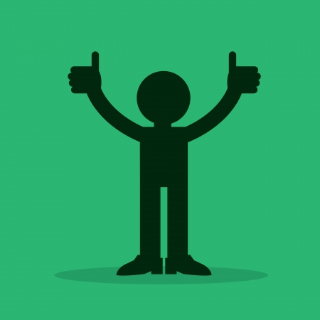 great success: Figure silhouette with two thumbs up  Illustration