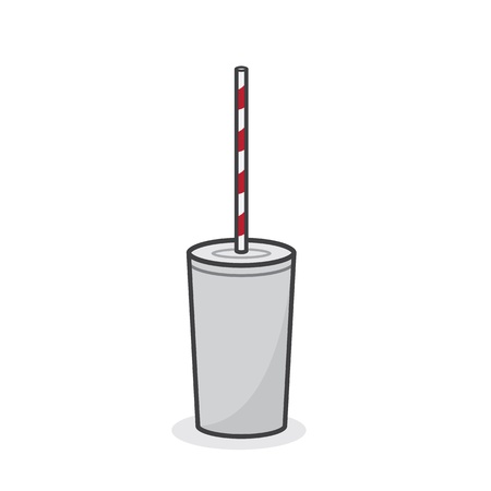 seltzer: Isolated white cup with striped red straw