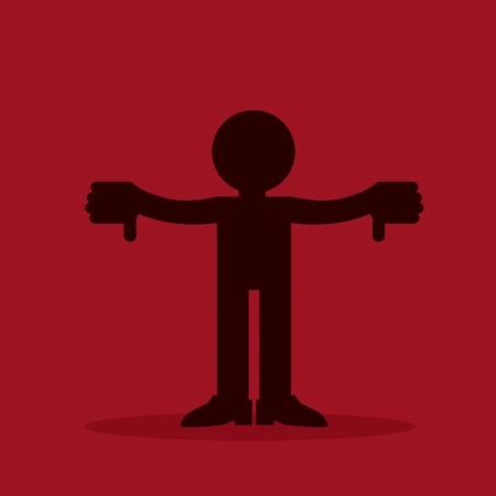 disapprove: Figure silhouette with two thumbs down  Illustration