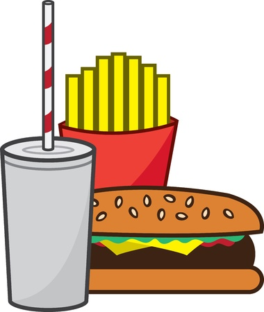 fatty: Isolated hamburger with fries and shake