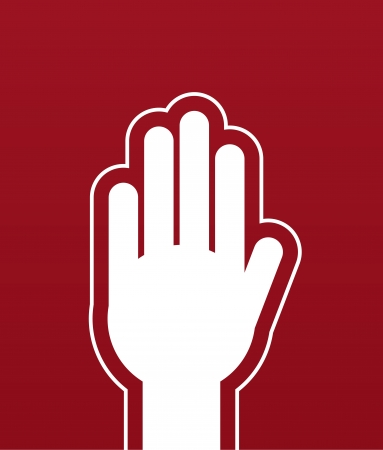 Large hand stop red background Stock Vector - 21479531