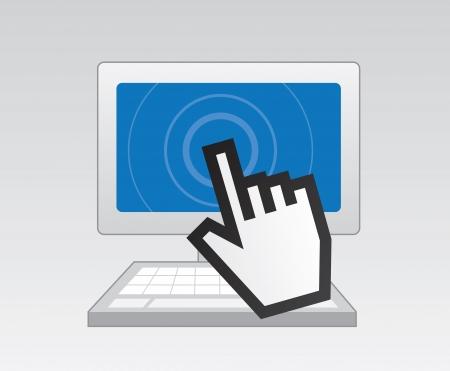 Computer met digitale wijzer wat betreft het scherm