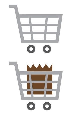Shopping cart symbol empty and full  Illustration