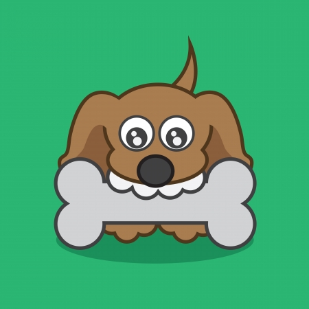 Small puppy with a large bone  Stock Vector - 21479548