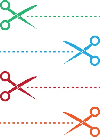 Scissor and dotted line in various colors