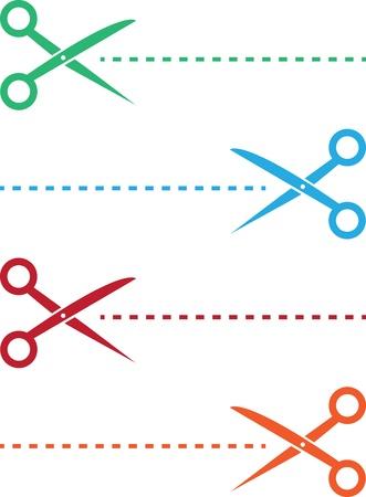 preschool teacher: Scissor and dotted line in various colors
