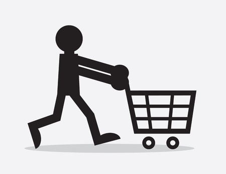 e commerce icon: Silhouette figure pushing shopping cart  Illustration