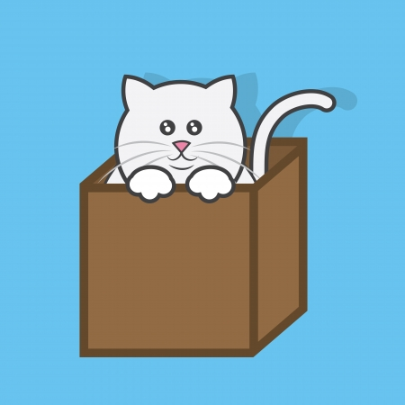 meow: Cat popping out of cardboard box