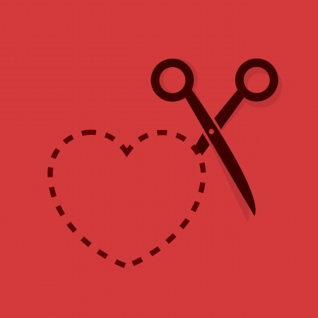 Heart dotted line with scissors