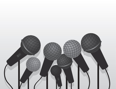 Multiple microphones with empty space  Stock Vector - 21479547