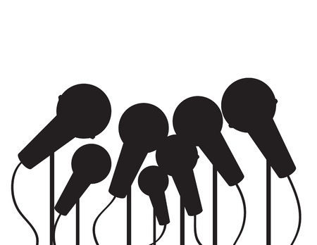 Multiple microphones silhouette with empty space Stock Vector - 21479554
