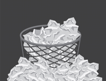 trash can: Garbage can overflowing with paper trash  Illustration