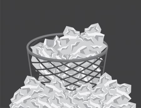 d�bord�: Poubelle d�bordant de d�chets de papier Illustration