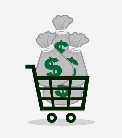 Shopping cart full of money bags  Vector