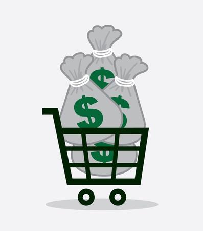 money bag: Shopping cart full of money bags