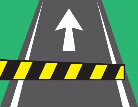 Poort voor tol met pijl op de weg