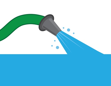 watering hose: Hose spraying water filling up the screen  Illustration
