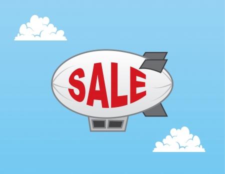 blimp: Airship blimp with sale text