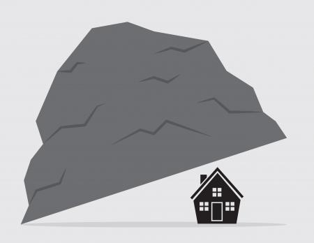 quaint: Living under a rock  House under large rock