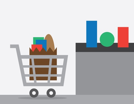 checkout: Full shopping cart at store checkout  Illustration