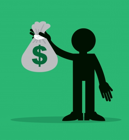 Figure holding up large money bag  Illustration