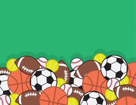 high school sports: Sports balls in a large pile with green background