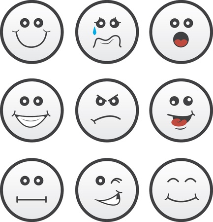Circle faces in various expressions Stock Vector - 21973121
