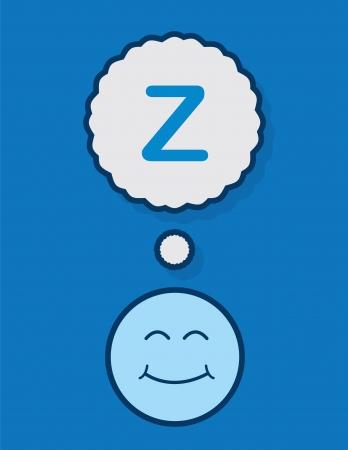 niños malos: Dormir cara con z burbuja de pensamiento