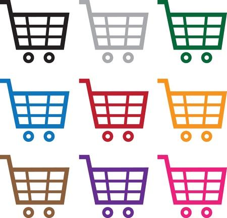 Shopping cart symbol in various colors  Illusztráció