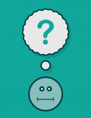 Thought bubble with question mark above face