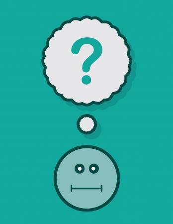 questioning: Dachte Blase mit Fragezeichen �ber Gesicht Illustration