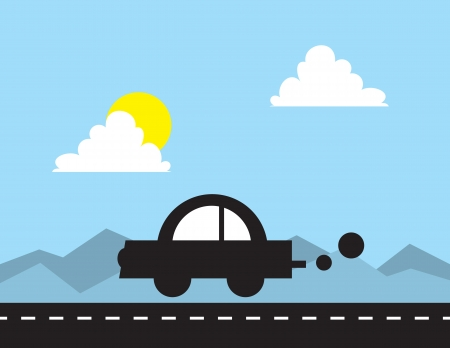 small car: Car silhouette driving down the road  Illustration