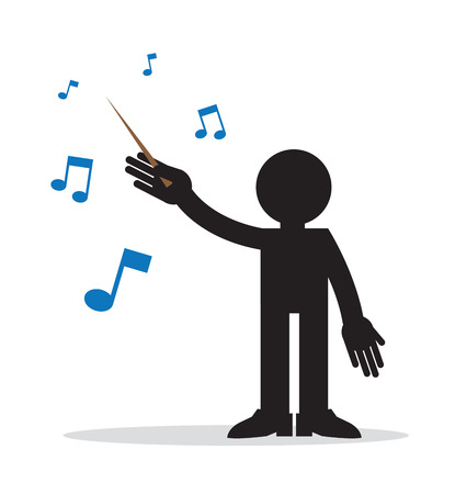 Music conductor with musical notes