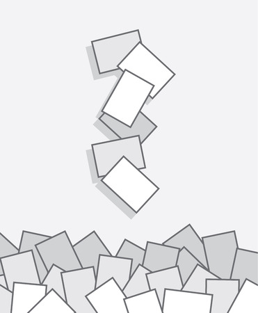Papers falling into large pile