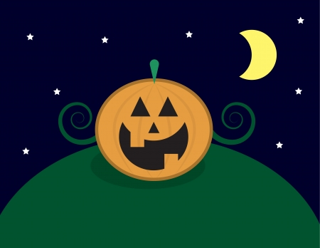 Pumpkin Jack O Lantern on a hill Stock Vector - 22439718