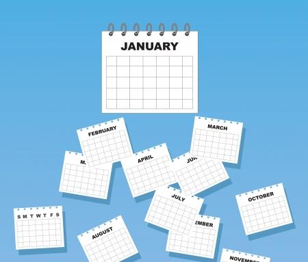 Calendario con los meses del año la caída