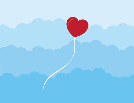 Heart balloon floating through the clouds  Vector