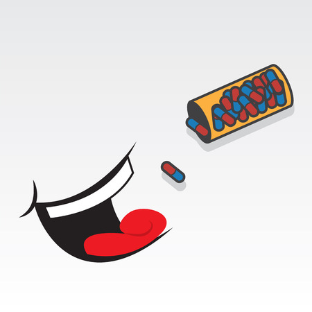 Pills pouring into floating mouth  Vector