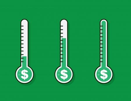 Geïsoleerde thermometers met geld doel Stock Illustratie