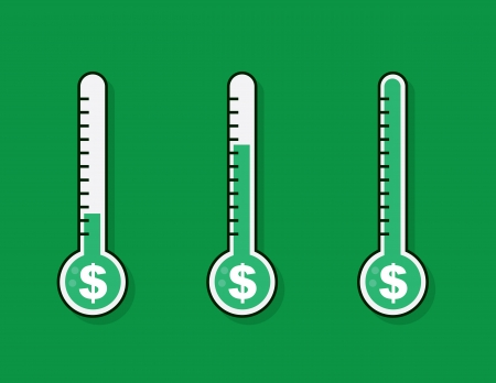 Isolated thermometers with money goal  Vectores