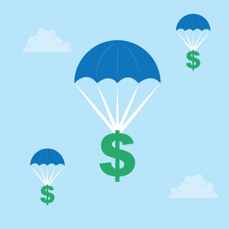 hang gliding: Dollar signs parachuting down from the sky