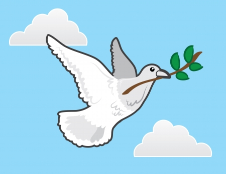 Dove flying with olive branch representing peace  Vector