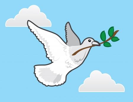 paloma caricatura: Vuelo de la paloma con la rama de olivo representa la paz