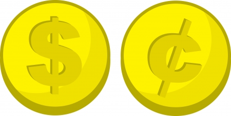 Gold coins with dollar and cent symbols  Illustration